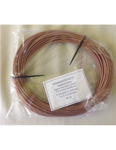 Trecciola in rame plastificato Ø 2,5 per antenne filari e dipoli - Bobina 50m