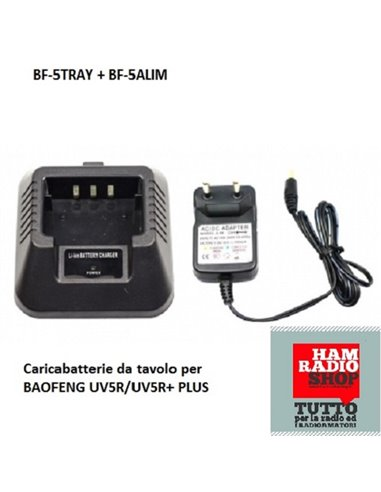 BF-5TRAY + BF-5ALIM - Caricabatterie da tavolo per BAOFENG UV5R/UV5R+ PLUS