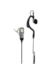 MA21-L Microfono con auricolare regolabile e PTT, con cavi spiralati. Presa 2 Pin Jack Midland