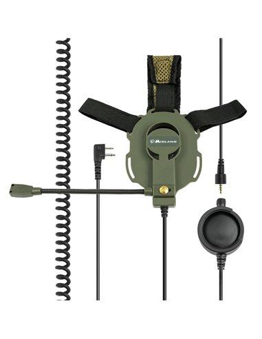 BOW-M EVO - Microfono / auricolare militare con PTT tattico Connettore Midland