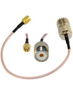 Cavetto adattatore da SMA Maschio a Femmina UHF SO239 lungh. 1 m. RG-316 teflon