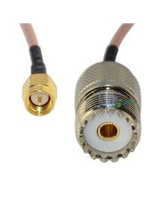 Cavetto adattatore da SMA Maschio a Femmina UHF SO239 lungh. 50 cm RG-316 teflon