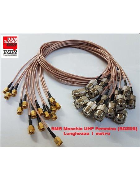 Cavetto adattatore da SMA Maschio a Femmina UHF SO239 lungo 20 cm. RG-316 teflon