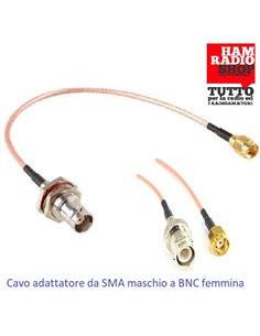 Cavetto adattatore da SMA Maschio a Femmina BNC lunghezza 20 cm RG-316 teflon