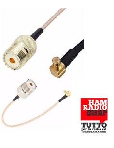 Cavetto adattatore da Maschio MCX a Femmina UHF SO239 lungo 20 cm. RG-316 teflon