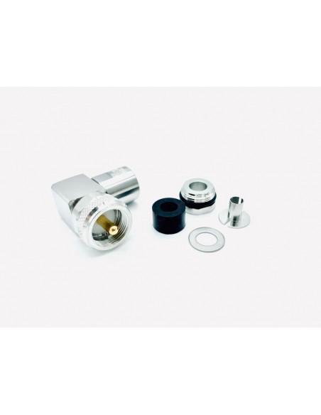 HRS PL5PRO90 - Connettore professionale PL maschio angolare per cavi 5 mm