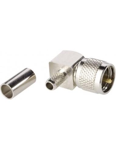 Connettore Mini UHF maschio a crimpare 90° x cavi 5mm