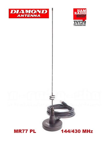 DIAMOND MR-77 Antenna veicolare magnetica bibanda144-430 MHz connettore PL